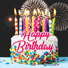 Amazing Animated Gif With Birthday Cake And Fireworks Download On