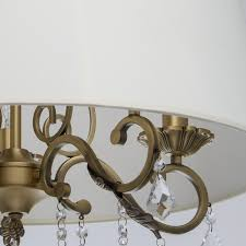 modern 5 arm pendant chandelier in antique brass with beige fabric shade save