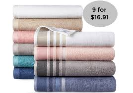 9 home expressions solid or stripe bath towels only 16 91