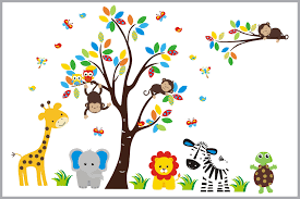 safari animal wall stickers baby room ideas furniture on jungle animal wall art with brightly colored tree jungle animal nursery decals baby room