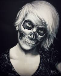 tinebra 233 13 skull make up painting by straewefin