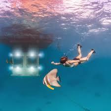 underwater hotel room at night. By Night, Sleep Beside The Fish \u2013 Bottom Platform Is Illuminated With Underwater Spotlights Beneath Each Window, Attracting A Variety Of Rare Marine Hotel Room At Night