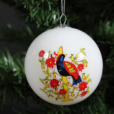 Hand Decorated Christmas Balls Hand Painted Glass Christmas Baubles Silver Magpie 48
