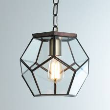 glass pendant lighting fixtures. clear glass prism pentagon pendant light glass_bronze lighting fixtures