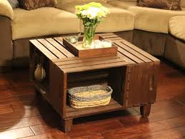 Furniture:Wooden Crate Coffee Table Along With White Flower Table  Centerpieces How to Manage Coffee