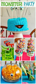 A monster themed girl birthday party with a fun cake, marshmallow pops and  hand drawn