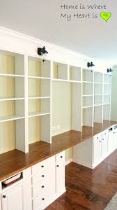 Wall Shelves With Desk Remodelaholic Build A Wall To Wall Built In Desk And Bookcase