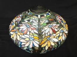 Stained Leaded Glass Table Lamp Shade Floral Design