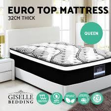 NEW Queen Mattress Bed Size Euro Top 5 Zone Pocket Spring High Resilience  Foam ...