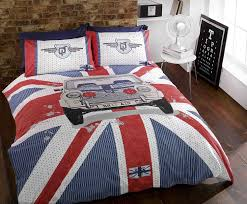 mini gt car union jack stripe blue red white grey duvet cover quilt bedding set single bed size hallways co uk kitchen home
