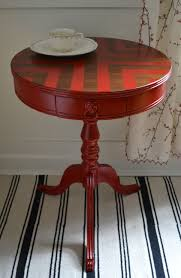 chevron painted furniture. Red Chevron Painted Round Side Table - Revived Vintage. $225.00, Via Etsy., Furniture P