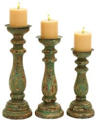 Vintage Finish Wood Candle Holder Set of 3 Accent Decor