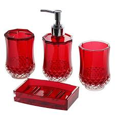 Stylish Red And Black Bathroom Accessories Ideas About Red
