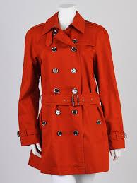 burberry brit orange cotton canterdale short trench coat size 10