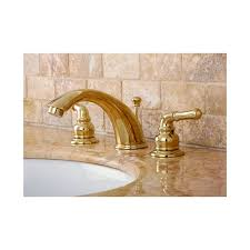 kingston brass kb962 polished brass magellan widespread bathroom faucet with pop up drain assembly and metal lever handles faucet com