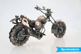 scrap metal art handmade nuts bolts dirt bike gift motorbike