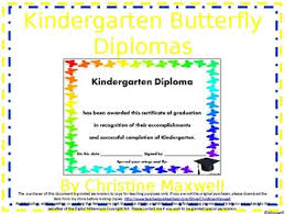 End Of The Year Kindergarten Butterfly Diploma Certificate Or Award