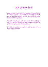 Essay On My Dream Job Under Fontanacountryinn Com