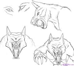 werewolf face drawing.  Drawing How To Draw A Werewolf Face Head Eyes Step 6 For Werewolf Face Drawing R