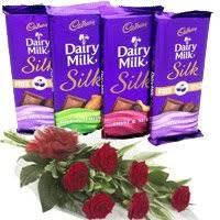 send 4 cadbury dairy milk silk chocolates with 6 red roses in india rakhi gifts