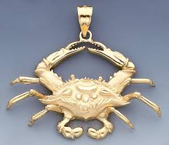 14k gold 58mm crab pendant