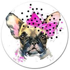 fashionable french bulldog oil painting print on metal