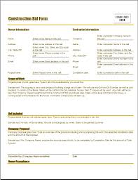Bid Form For Construction Construction Bid Form Word Excel Templates
