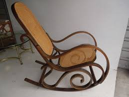 bentwood rocking chair mid century thonet rocker cane back retro wooden rocking chair