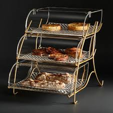 rosseto three tier clear acrylic bakery display case with brass metal stand bk021