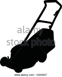 commercial lawn mower silhouette. lawn mower silhouette - stock photo commercial