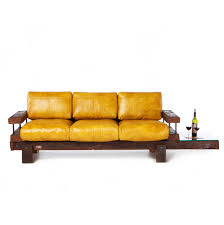derby reclaimed oak and leather sofa