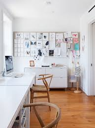 Home office white Pinterest Contemporary Home Office In White With Multiple Workstations design Bonaventura Architect Decoist 20 Ways To Decorate Home Office In White
