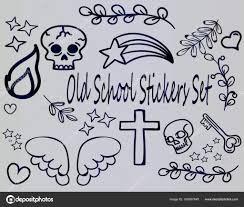 эскизы тату иконы большой набор мультфильм эскизы тату старой школы
