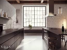 Industrial Kitchen Floor Loft Kitchen Visualization Design Kola Studio Tags Wooden
