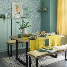 Country dining room ideas Dining Table Country Dining Room With Artisan Block Print Wallpaper And Yellow Accents Ideal Home Country Dining Room Pictures Ideal Home