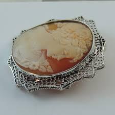 14k white gold vintage antique italian shell cameo in filigre setting