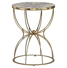 gabrielle hollywood regency hourglass brass horn side end table kathy kuo home
