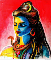 crayon painting of lord shiva