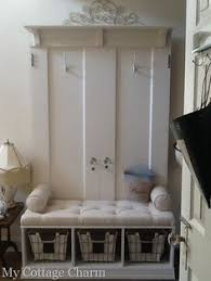 Front Door Bench Coat Rack Upcycled Hall Tree Made from salvaged doors door headers Perfect 8