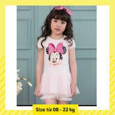 Thời trang quần áo trẻ em bé gái - Đầm thun in hình Mickey với chân váy  voan mềm cho bé gái 1,2,3,4,5,6,7 tuổi giảm chỉ còn 116,000 đ