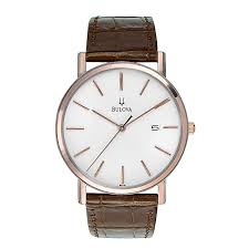 bulova disney watches h samuel bulova men s brown leather rose gold bracelet watch product number 9332979