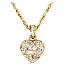 cartier diamond gold heart shaped pendant necklace for