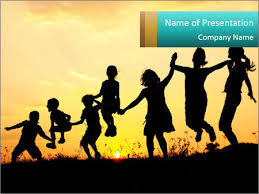 Kids Powerpoint Background Shadow Of Playing Kids Powerpoint Template Infographics Slides