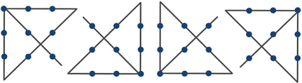 Circles have more than four lines of symmetry. Four Lines Through 9 Points How To Connect Nine Points With Four Lines