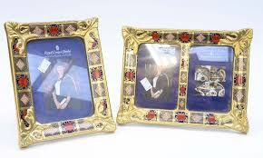 lot 1049 royal crown derby imari photo picture frames a duo and single