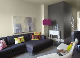 Mood Lighting Living Room Charming Grey Paint Color For Living Room With A Black Sofa And