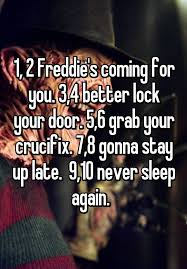 lock your door. 1, 2 Freddie\u0027s Coming For You. 3,4 Better Lock Your Door. 5,6 Grab Crucifix. 7,8 Gonna Stay Up Late. 9,10 Never Sleep Again. Door