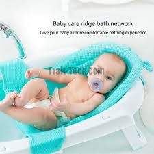 gica newborn baby bath seat support net bathtub sling shower mesh bathing cradle rings for tub cyan