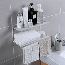 tier wall shelf over toilet towel rack