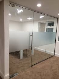 gallery office glass. glass partitioning with vinyl frosting gallery office